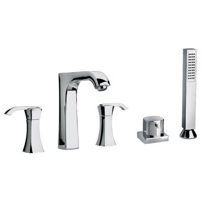 Jewel Faucets J11 Bath Series Two Lever Handle Roman Tub Faucet and Hand Shower with Arched Spout