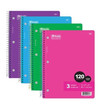 Bazic 120 Ct. 3-Subject Spiral Notebook