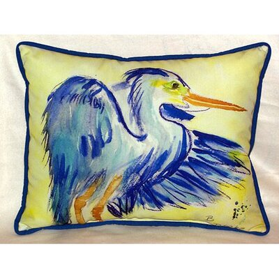 Teal Blue Heron Indoor Outdoor Lumbar Pillow by Betsy Drake Interiors