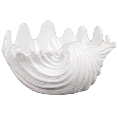 Urban Trends Ceramic Clam Seashell Valve Gloss White