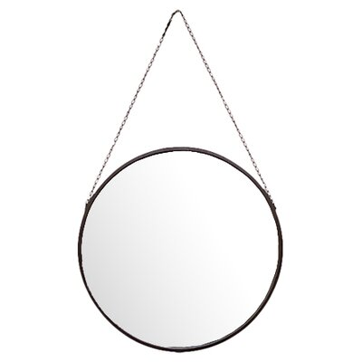 Metal Mirror Round with Chain Hanger Black by Urban Trends