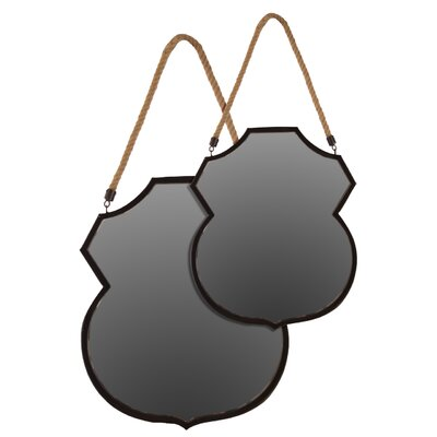 Metal Mirror with Rope Hangers Set of Two Black by Urban Trends