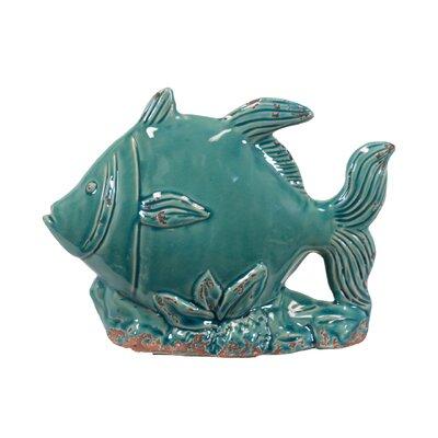 Urban Trends Ceramic Fish on Seaweed Base Distressed Blue