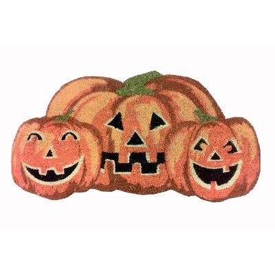 Happy Halloween Pumpkin Shaped Coir Doormat by Peking Handicraft