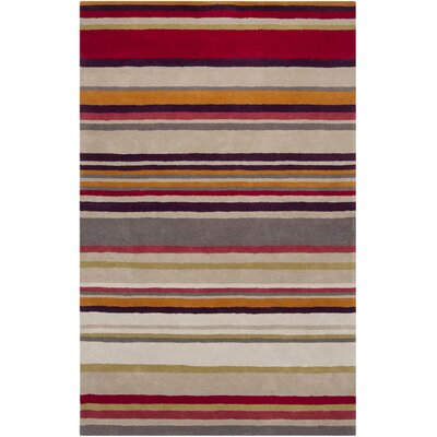 Raspberry Striped Area Rug by Harlequin