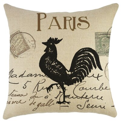 Paris Rooster Burlap Throw Pillow by TheWatsonShop