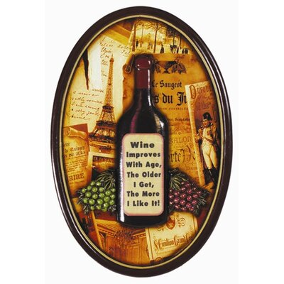 RAM Game Room Wine Improves with Age Pub Framed Graphic Art