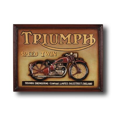 RAM Game Room Game Room Triumph Speed Twin Motorcycle Framed Vintage Advertisement