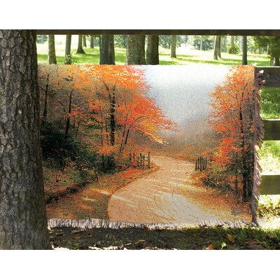 Autumn Lane Tapestry Cotton Throw by Manual Woodworkers & Weavers