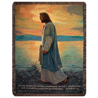 Manual Woodworkers & Weavers Walk with Me Verse Tapestry Cotton Throw
