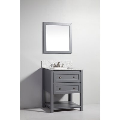 "30"" Solid Wood Single Sink Vanity with Mirror Product Photo"