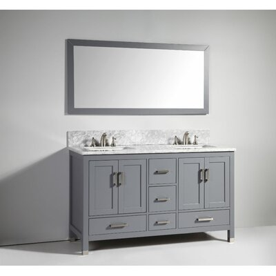 60 solid wood double sink vanity set with mirror wayfair for Solid wood double sink bathroom vanity