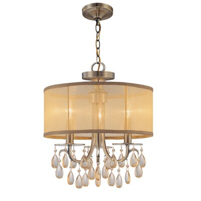 crystorama hampton 3 light chandelier reviews wayfair. Black Bedroom Furniture Sets. Home Design Ideas