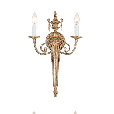 Crystorama Baroque 2 Light Candle Wall Sconce