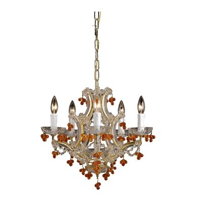 Crystorama Hot Deal 5 Light Glass Chandelier
