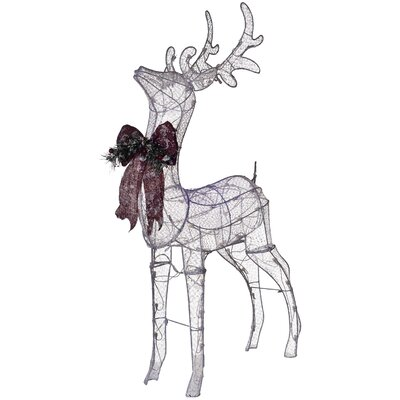 Pre-Lit Glittering Net Fabric Standing Buck Christmas Decoration by Dyno Seasonal Solutions