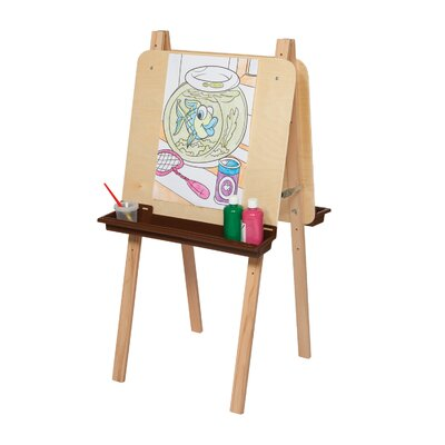 Wood Designs Natural Environment Double Adjustable Easel with Brown Tray