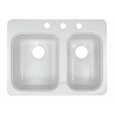 "Deluxe 25"" x 19.5"" Designer Double Bowl Self-Rimming Kitchen Sink Product Photo"