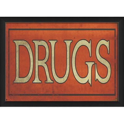 Drugs Sign Framed Textual Art by The Artwork Factory