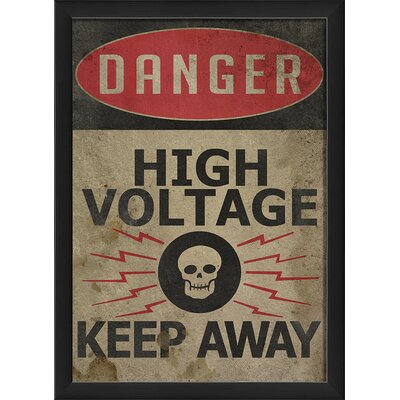 Danger High Voltage Framed Textual Art by The Artwork Factory