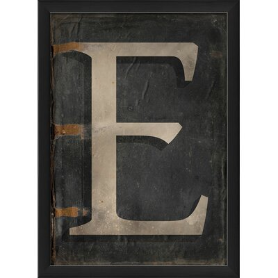 The Artwork Factory Letter E Framed Textual Art in Black and Gray