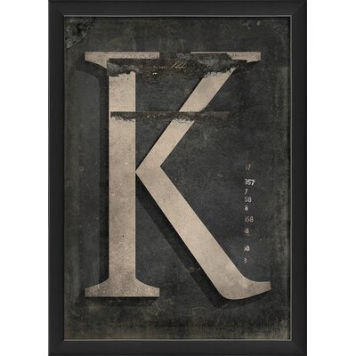 The Artwork Factory Letter K Framed Textual Art in Black and Gray