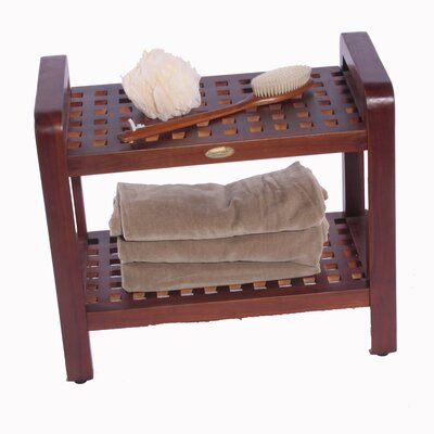 Decoteak Teak Bathroom Free Standing Storage Shelf