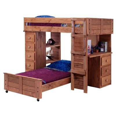 Chelsea Home Twin Over Twin L-Shaped Bunk Bed with Desk and Chest End