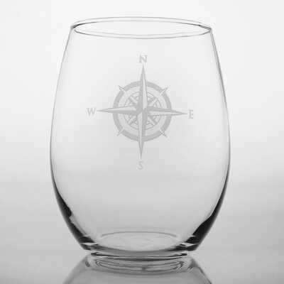 Rolf Glass Compass Rose Stemless Red Wine Glass