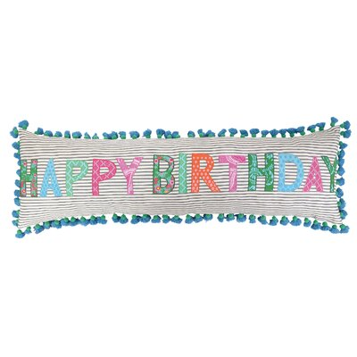 Happy Birthday Linen Throw Pillow by Sis Boom by Jennifer Paganelli