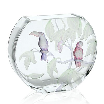 Womar Glass Gallery Tropical Birds Vase