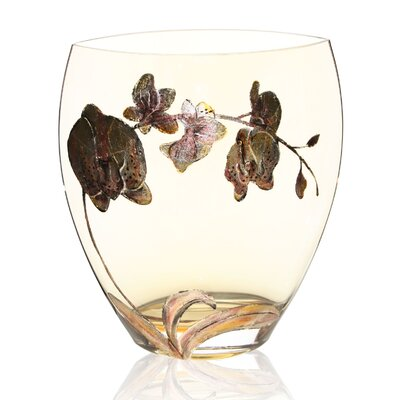 Hand Painted Glass Orchid Series Vase by Womar Glass