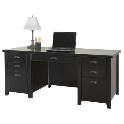 kathy ireland Home by Martin Furniture Tribeca Loft Computer Desk with 3 Right & 3 Left Drawers