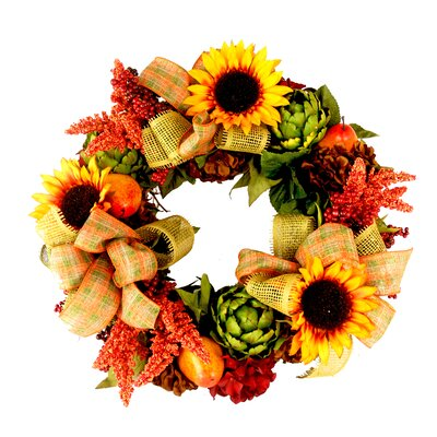 Sunflower and Artichoke Autumn Wreath by Creative Displays, Inc.