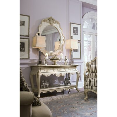 Michael Amini Lavelle Console Table and Mirror Set in Blanc