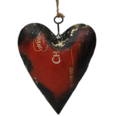 Recycled Oil Drum Heart Ornament by Foreign Affairs Home Decor
