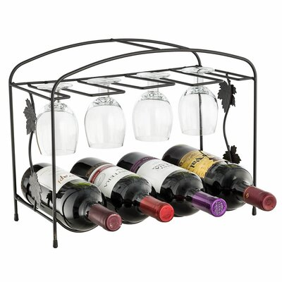 4 Bottle Tabletop Wine and Glass Rack by GGI International