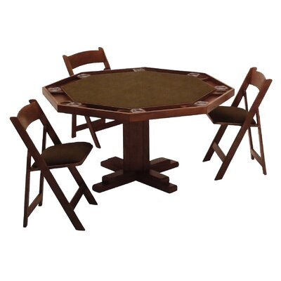 Kestell furniture 52 39 39 oak pedestal base poker table set for Table 52 reviews