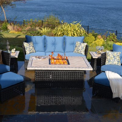 Outdoor Innovation Monaco 8 Piece Deep Seating Group with Cushion