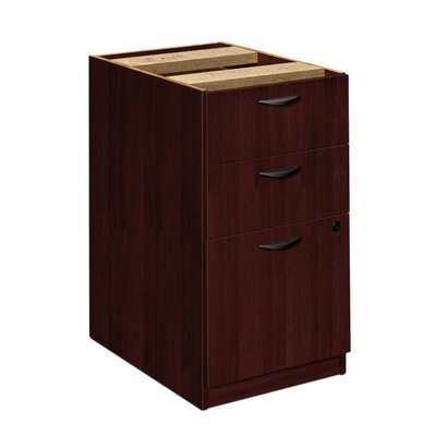 Basyx by HON Three-Drawer Pedestal File, 15-5/8w x22d x 27-3/4h, Mahogany