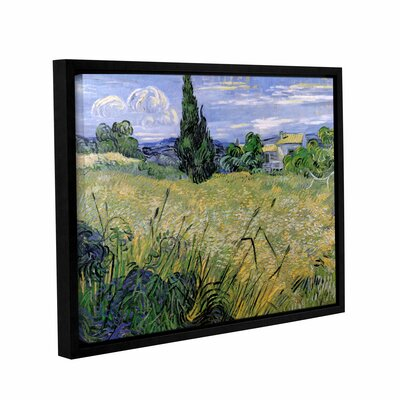 Green Wheat Field with Cypress by Vincent Van Gogh Gallery-Wrapped Floater-Framed Canvas by ArtWall
