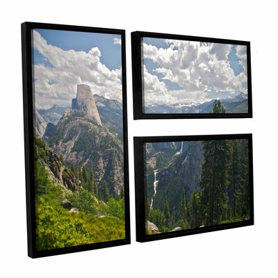 Yosemite-Half Dome, Vernal Falls And Nevada Falls by Dan Wilson 3 Piece Floater Framed Canvas ...