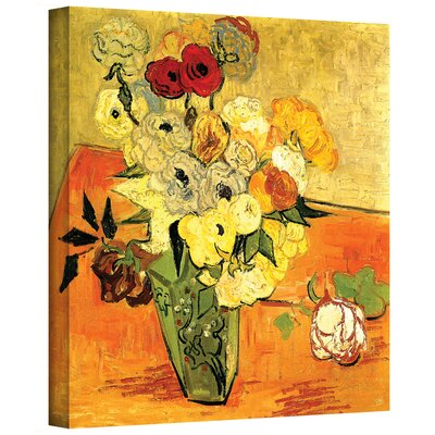 ArtWall 'Japanese Vase with Roses & Anemones' by Vincent Van Gogh Painting Print on Canvas