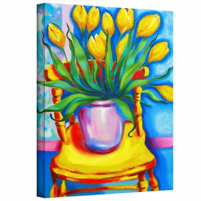 Yellow Tulips in van Gogh's Chair Painting Print on Canvas by ArtWall