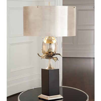 """Global Views Egg and Palm 37.5"""" H Table Lamp with Drum Shade"""