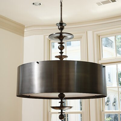 Turned 4 Light Drum Pendant Chandelier by Global Views