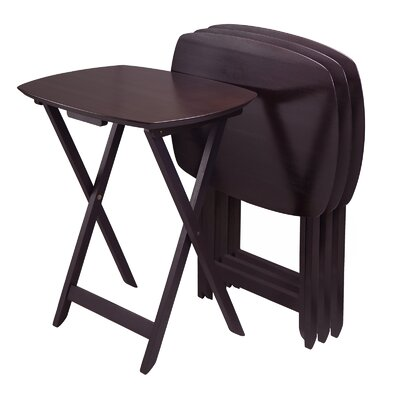 Curved TV Table in Dark Espresso (Set of 4) by Winsome
