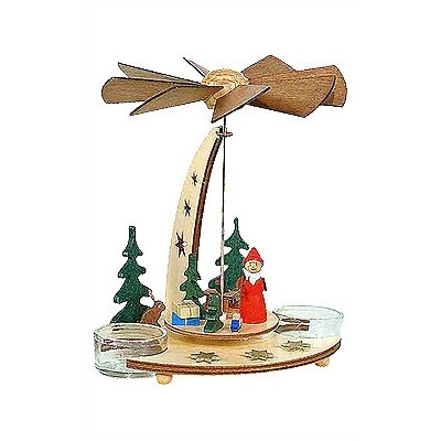 Dregeno Lacquered Wood Santa in Forest Pyramid Candle Holder