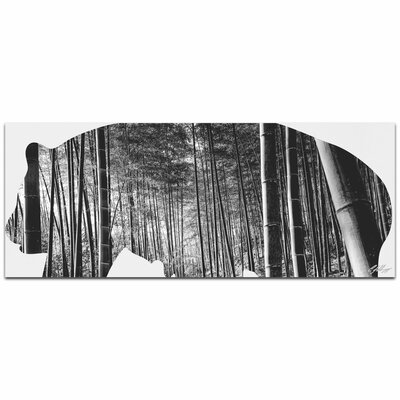Panda Bear Bamboo | Contemporary Metal Animal Silhouette Graphic Art by Metal Art Studio