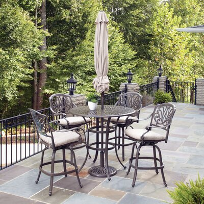 Home Styles Floral Blossom 5 Piece Bistro Set with Umbrella